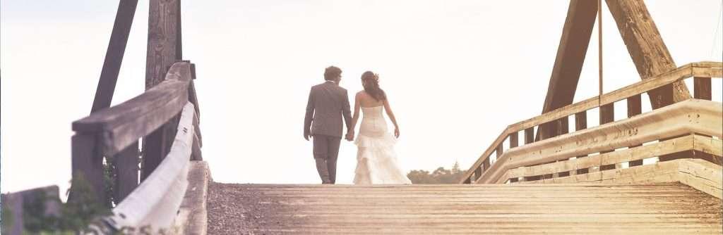 Christian Marriage wedding couple on bridge