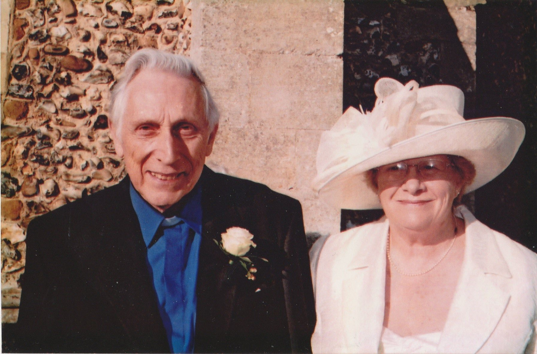 previously widowed gillian and keith on their wedding day